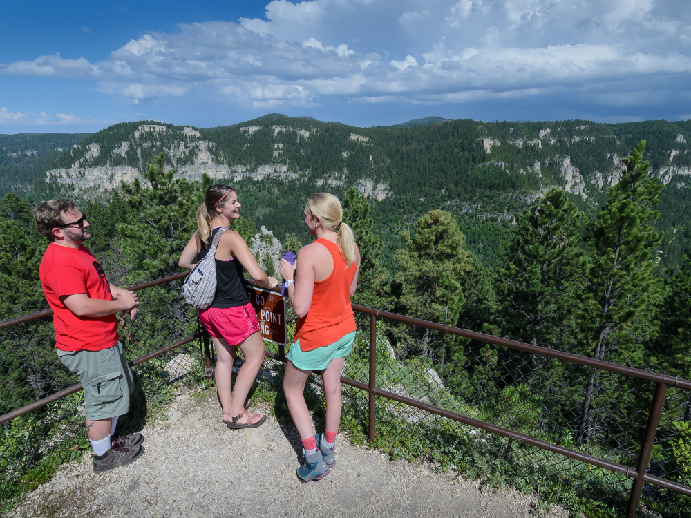 Panoramic views of Spearfish Canyon at the top of the 76 Trail.